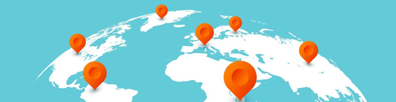 mapa sveta sa obeleživačima